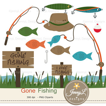 Fishing Digital Papers and Fish clipart
