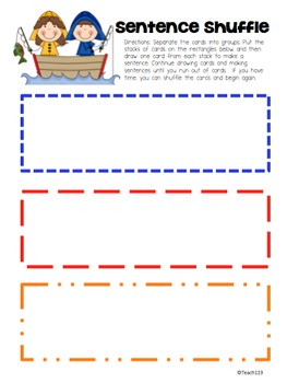 Fluency First Grade Sentence Shuffle