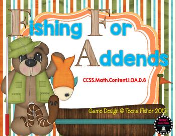 Missing Addends File Folder Game Math Center First Grade