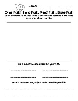 picture about One Fish Two Fish Printable called Fishing For Adjectives-- One particular Fish, 2 Fish, Crimson Fish, Blue Fish