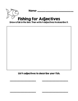 Fishing For Adjectives-- One Fish, Two Fish, Red Fish, Blue Fish