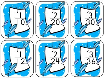 "Fishing For Equivalent Fractions ""Four In A Row"" Game"