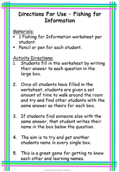 Fishing For Information Back to School or End of Year Fun, Printable Worksheet