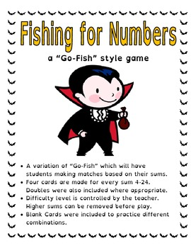 Fishing For Numbers - Addition Game - Halloween Theme