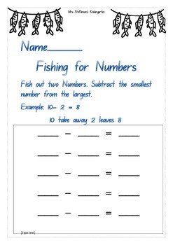 Fishing For Numbers Game Maths Subtraction Numbers to 10 and 20