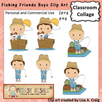 Fishing Friends Boys Clip Art Color  personal & commercial use