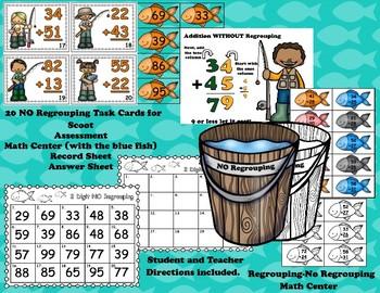 Fishing Fun 2 Digit Addition Regrouping & NO Regrouping Math Bundle