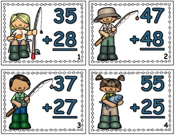 Fishing Fun 2 Digit Addition With Regrouping Task Cards