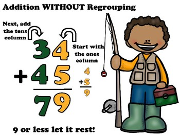 Fishing Fun 2 digit Addition Without Regrouping Task Cards