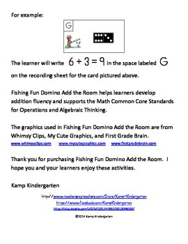 Fishing Fun Domino Add the Room (Sums of 0 to 10)