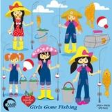 Fishing Clipart, Girls Fishing Clipart, Clip Art, AMB-223