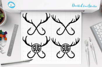 Download Fishing Hunting Svg Deer Horns And Hooks Svg Deer Horns And Hooks Monogram