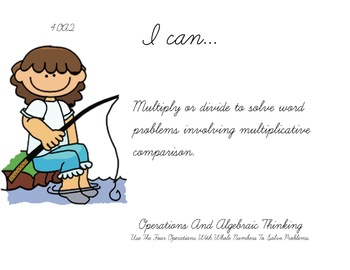 Fishing Kids Theme 4th grade math Common Core Posters fourth Grade Standards