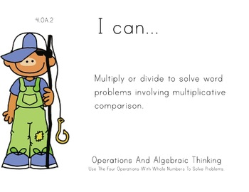 Fishing Kids Theme 4th grade math Common Core Posters four