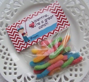 Fishing Valentine Large Treat Bag Toppers