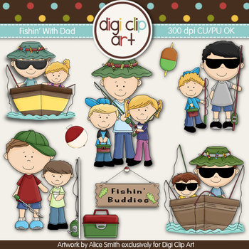 Fishing With Dad -  Digi Clip Art/Digital Stamps - CU Clip Art
