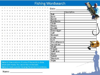 Fishing Wordsearch Puzzle Sheet Keywords Physical Education Sports