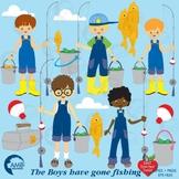 Fishing Clipart, Boys Fishing Clipart, { Best Teacher Tools },  AMB-224