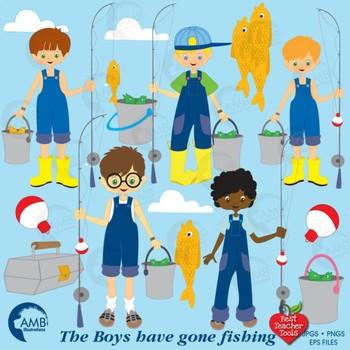 Fishing Clipart Boys Fishing Clipart, Clip Art,  AMB-224