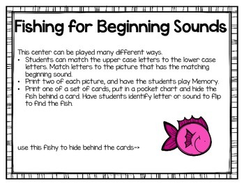 Fishing for Beginning Sounds {Easy Center for Back to School}