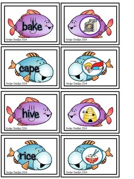Fishing for CVCe Words Memory Game Freebie