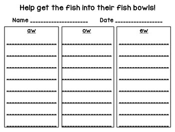 Fishing for Diphthongs: aw, ew, ow