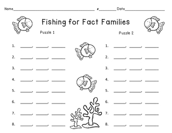 Fishing for Fact Families (multiplication edition)