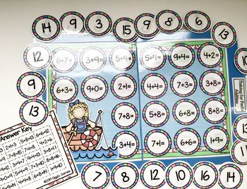 Fishing for Facts Addition File Folder Game