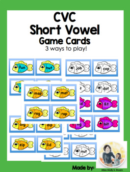 CVC Short Vowel Word Cards- 3 ways to play!