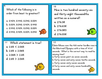 Fishing for Fun Task Cards  (place value)