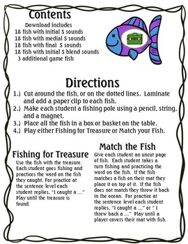 Fishing for Good Articulation Game S and S blends