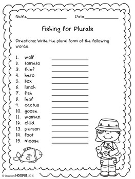 Fishing for Irregular Plurals Game & Bonus Activities
