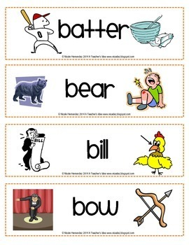 HOMOGRAPHS - Multiple Meaning Words - Word Cards with Dual Pictures