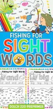 Fishing for Sight Words: Dolch 220 PrePrimer Worksheets
