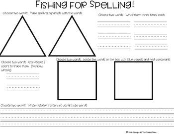 Fishing for Spelling  Spelling Pratice  Literacy Center