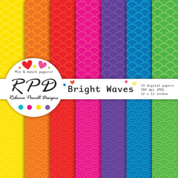 Fishscale scallops pattern bright rainbow colours digital paper set/ backgrounds