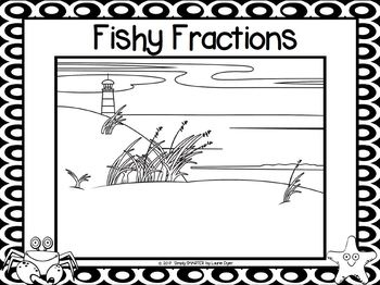 Fishy Fractions:  NO PREP Beach Themed Roll, Shake and Spill Fraction Game