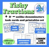 Fishy Fractions - adding/subtracting unlike denominators task cards + printables