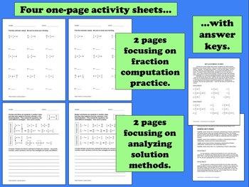 Fishy Fractions - adding/subtracting unlike denominators task cards + printables