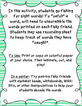 Fishy Friends: A Fry Word Print and Play Activity