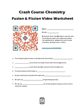 Fission and Fusion Crash Course Video Worksheet