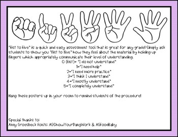 Fist to Five Assessment Posters