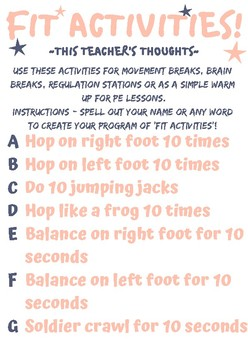 Fit Activities - Movement breaks, regulation stations, brain breaks...
