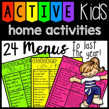 Active Kids:  24 Menus - home activities / HW {Year long} that gets kids moving!
