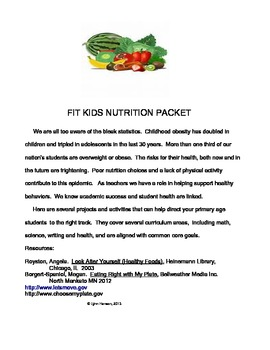 Fit Kids Nutrition Packet