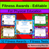 32 Fitness Awards - Physical Education Certificates (Editable)