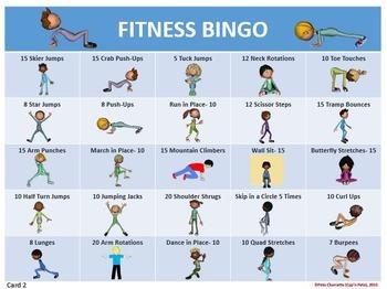 Fitness Bingo- 30 Different Bingo Cards and Teacher Tools