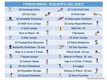 photo relating to Printable Workout Cards titled Conditioning Bingo- 30 Alternate Bingo Playing cards and Trainer Instruments