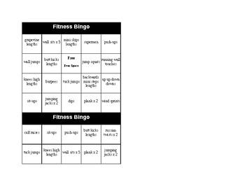 Fitness Bingo