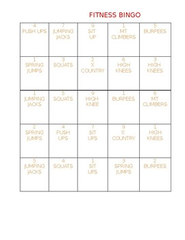 Fitness Bingo Challenge Cards